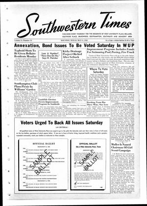 Primary view of object titled 'Southwestern Times (Houston, Tex.), Vol. 2, No. 33, Ed. 1 Thursday, May 9, 1946'.