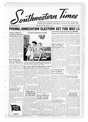Primary view of object titled 'Southwestern Times (Houston, Tex.), Vol. 2, No. 28, Ed. 1 Thursday, April 4, 1946'.