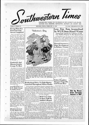 Primary view of object titled 'Southwestern Times (Houston, Tex.), Vol. 2, No. 21, Ed. 1 Thursday, February 14, 1946'.