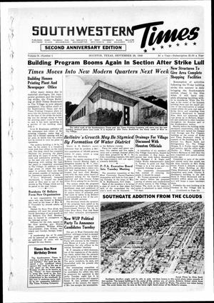 Primary view of object titled 'Southwestern Times (Houston, Tex.), Vol. 3, No. 1, Ed. 1 Thursday, September 26, 1946'.
