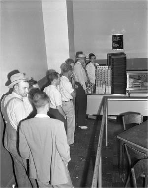 Primary view of object titled 'Cigarette line in cafeteria'.