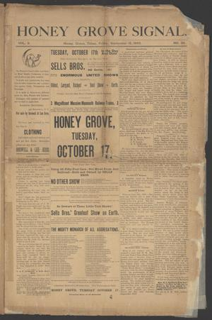 Primary view of object titled 'Honey Grove Signal. (Honey Grove, Tex.), Vol. 3, No. 30, Ed. 1 Friday, September 15, 1893'.