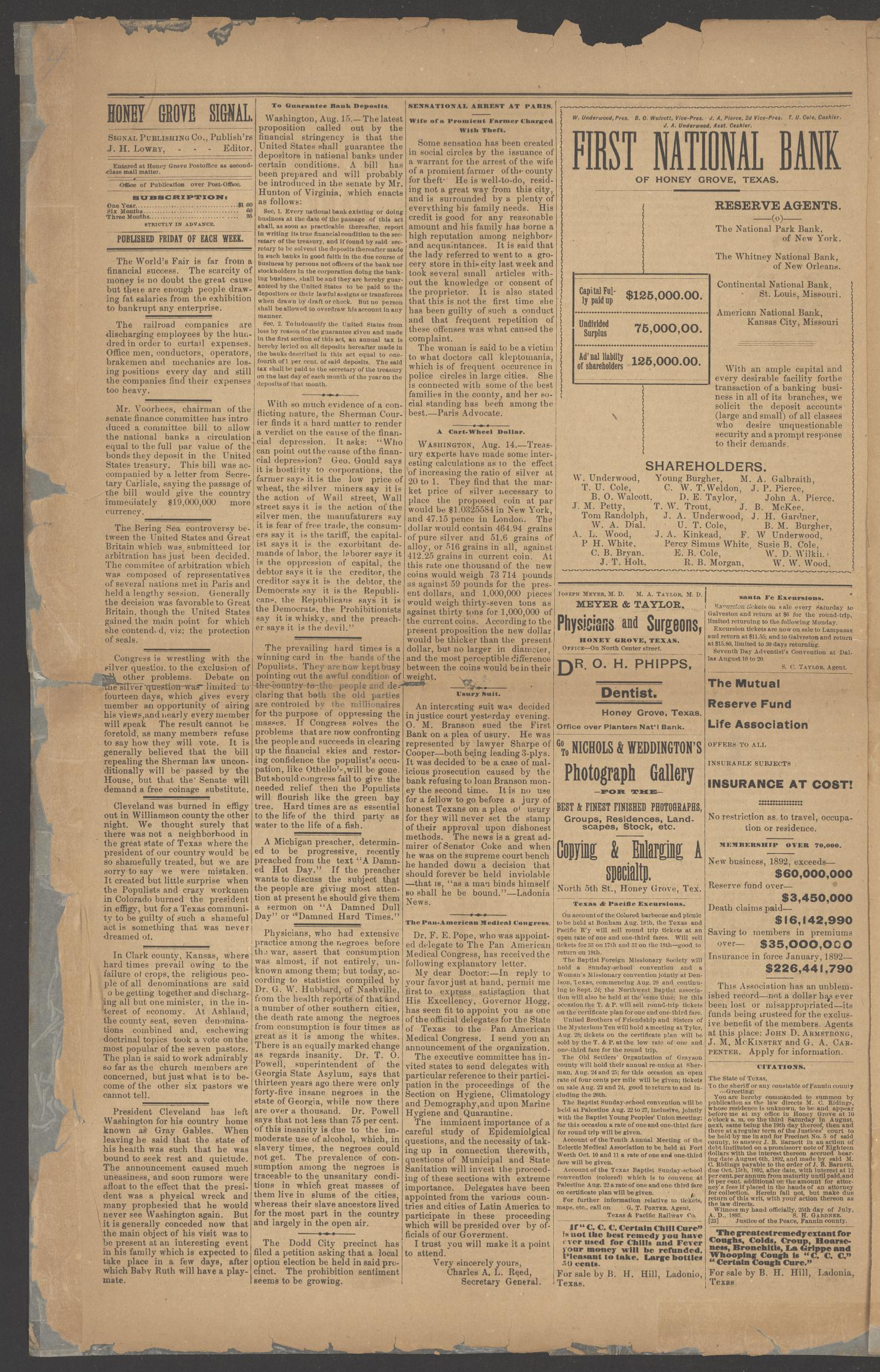 Honey Grove Signal. (Honey Grove, Tex.), Vol. 3, No. 26, Ed. 1 Friday, August 18, 1893                                                                                                      [Sequence #]: 4 of 8