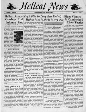 Primary view of object titled 'Hellcat News, (Tennessee.), Vol. 1, No. 4, Ed. 1, October 8, 1943'.