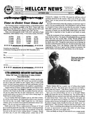 Primary view of object titled 'Hellcat News, (Sheridan, Wyo.), Vol. 55, No. 2, Ed. 1, October 2001'.