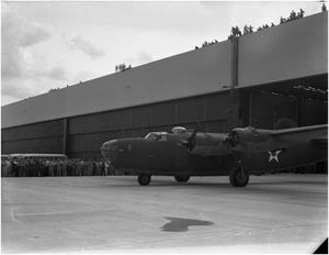 Primary view of object titled '[B-27 heading for initial flight]'.
