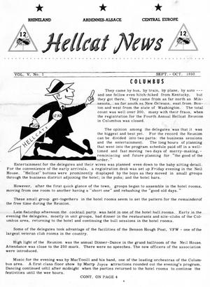 Primary view of object titled 'Hellcat News, (Omaha, Neb.), Vol. 5, No. 1, Ed. 1, September/October 1950'.