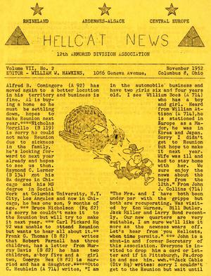 Primary view of object titled 'Hellcat News, (Columbus, Ohio), Vol. 7, No. 2, Ed. 1, November 1952'.