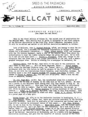 Primary view of object titled 'Hellcat News, ([New York, N.Y.]), Vol. 2, No. 1, Ed. 1, September 1947'.
