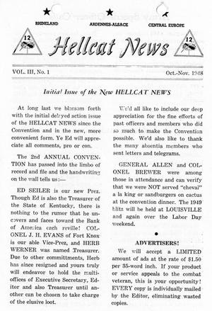 Primary view of object titled 'Hellcat News, (Wilkinsburg, Pa.), Vol. 3, No. 1, Ed. 1, October-November 1948'.