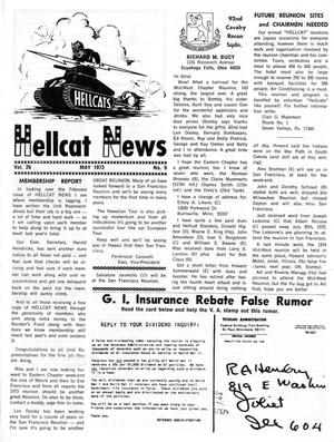 Primary view of object titled 'Hellcat News, (Maple Park, Ill.), Vol. 26, No. 9, Ed. 1, May 1973'.