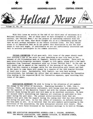 Primary view of object titled 'Hellcat News, (Wilkinsburg, Pa.), Vol. 2, No. 12, Ed. 1, September 1948'.