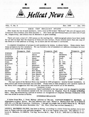 Primary view of object titled 'Hellcat News, ([Omaha, Neb.]), Vol. 5, No. 2, Ed. 1, November 1950'.