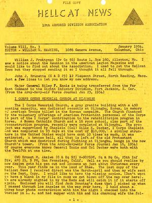 Primary view of object titled 'Hellcat News, (Columbus, Ohio), Vol. 8, No. 3, Ed. 1, January 1954'.