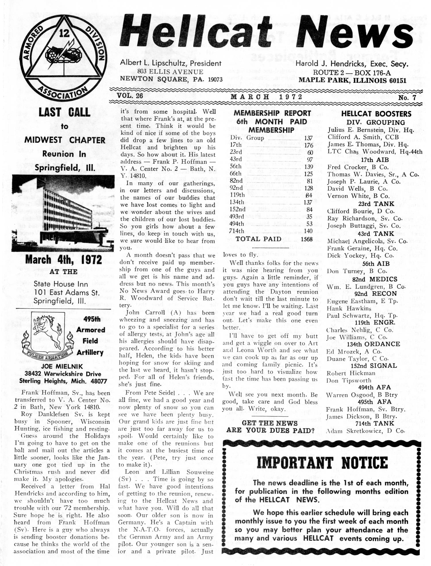 Hellcat News, (Maple Park, Ill.), Vol. 26, No. 7, Ed. 1, March 1972                                                                                                      [Sequence #]: 1 of 10