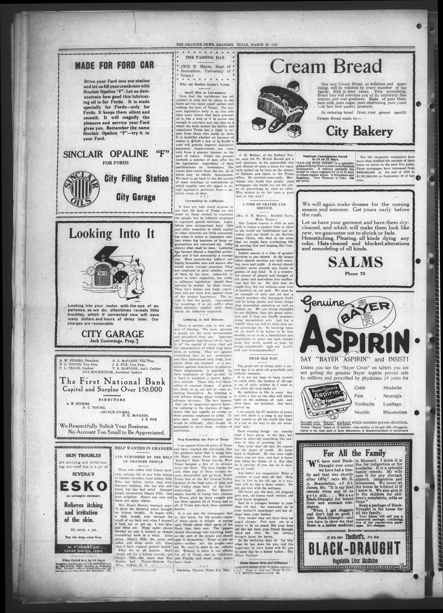 The Granger News. (Granger, Tex.), Vol. 30, No. 18, Ed. 1 Thursday, March 26, 1925                                                                                                      [Sequence #]: 6 of 8
