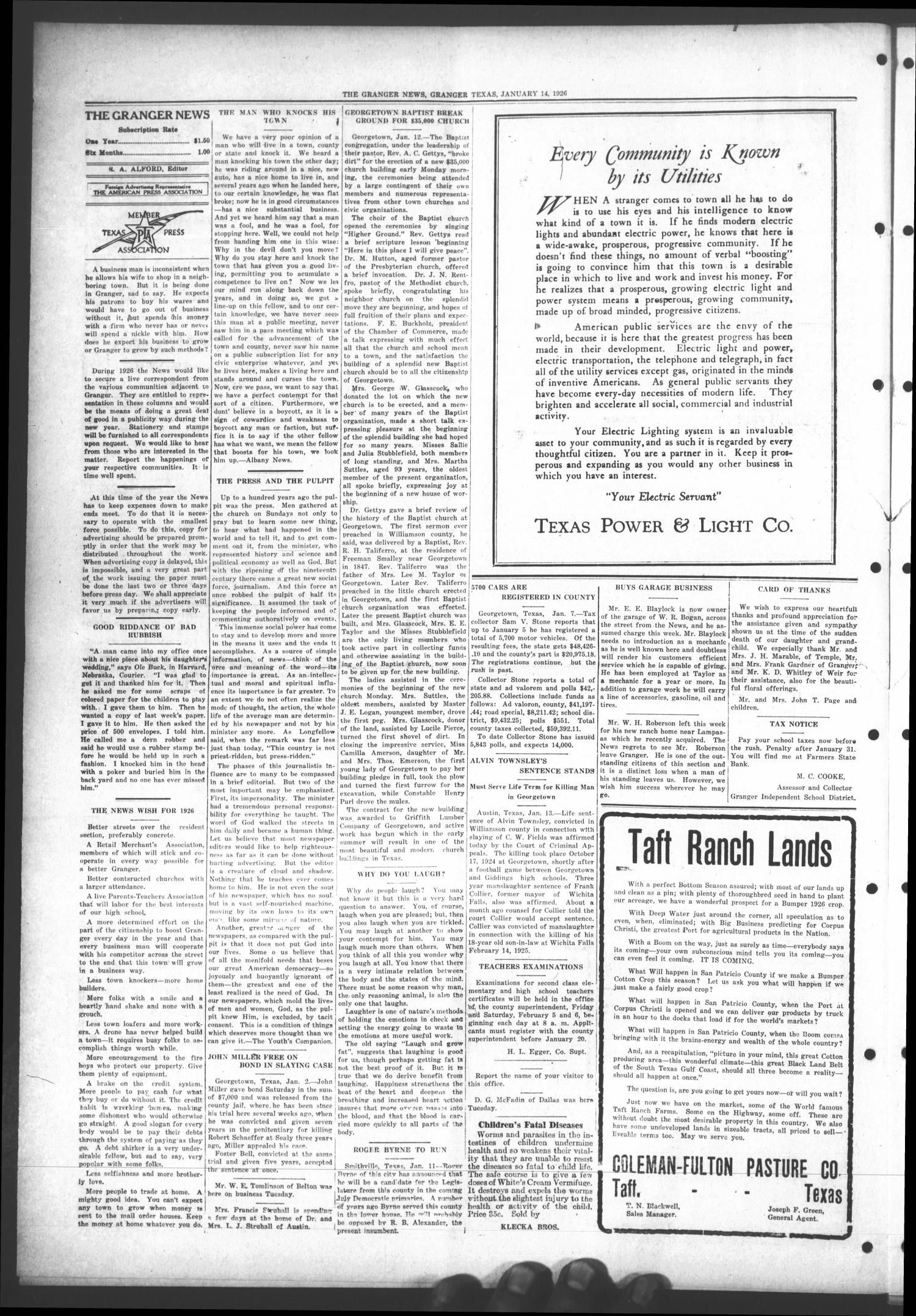 The Granger News. (Granger, Tex.), Vol. 31, No. 07, Ed. 1 Thursday, January 14, 1926                                                                                                      [Sequence #]: 4 of 8
