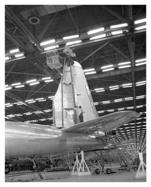 Primary view of object titled 'Hanging Vertical Fin on a B-32'.