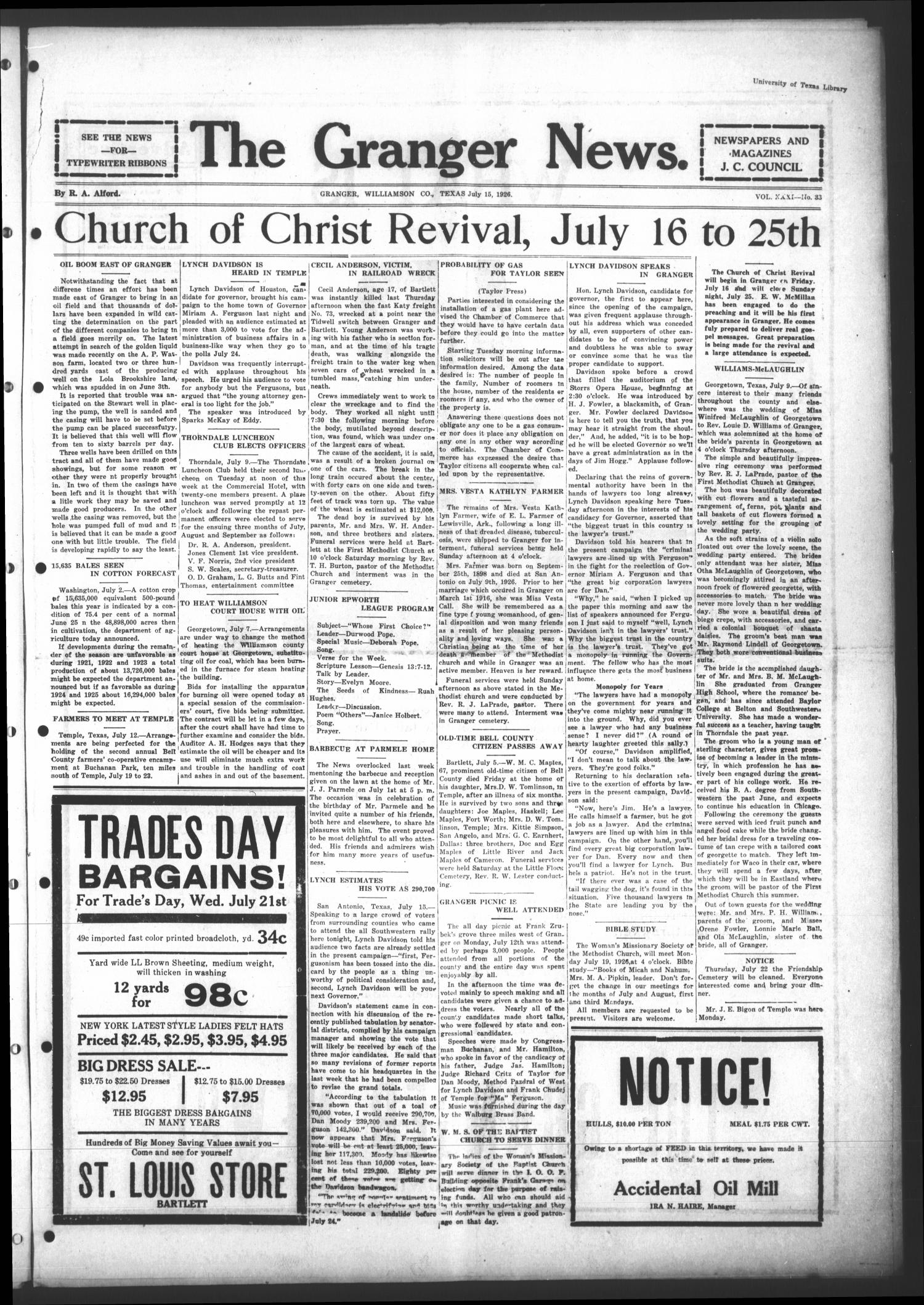 The Granger News. (Granger, Tex.), Vol. 31, No. 33, Ed. 1 Thursday, July 15, 1926                                                                                                      [Sequence #]: 1 of 8