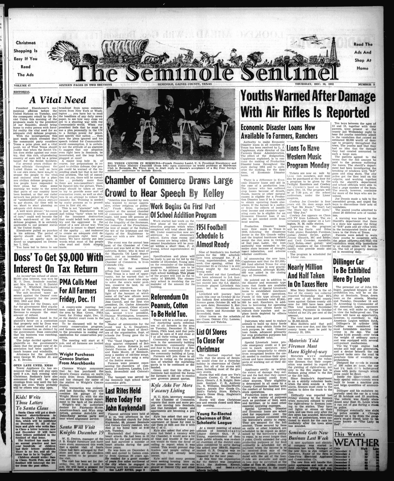 The Seminole Sentinel (Seminole, Tex.), Vol. 47, No. 02, Ed. 1 Thursday, December 10, 1953                                                                                                      [Sequence #]: 1 of 16