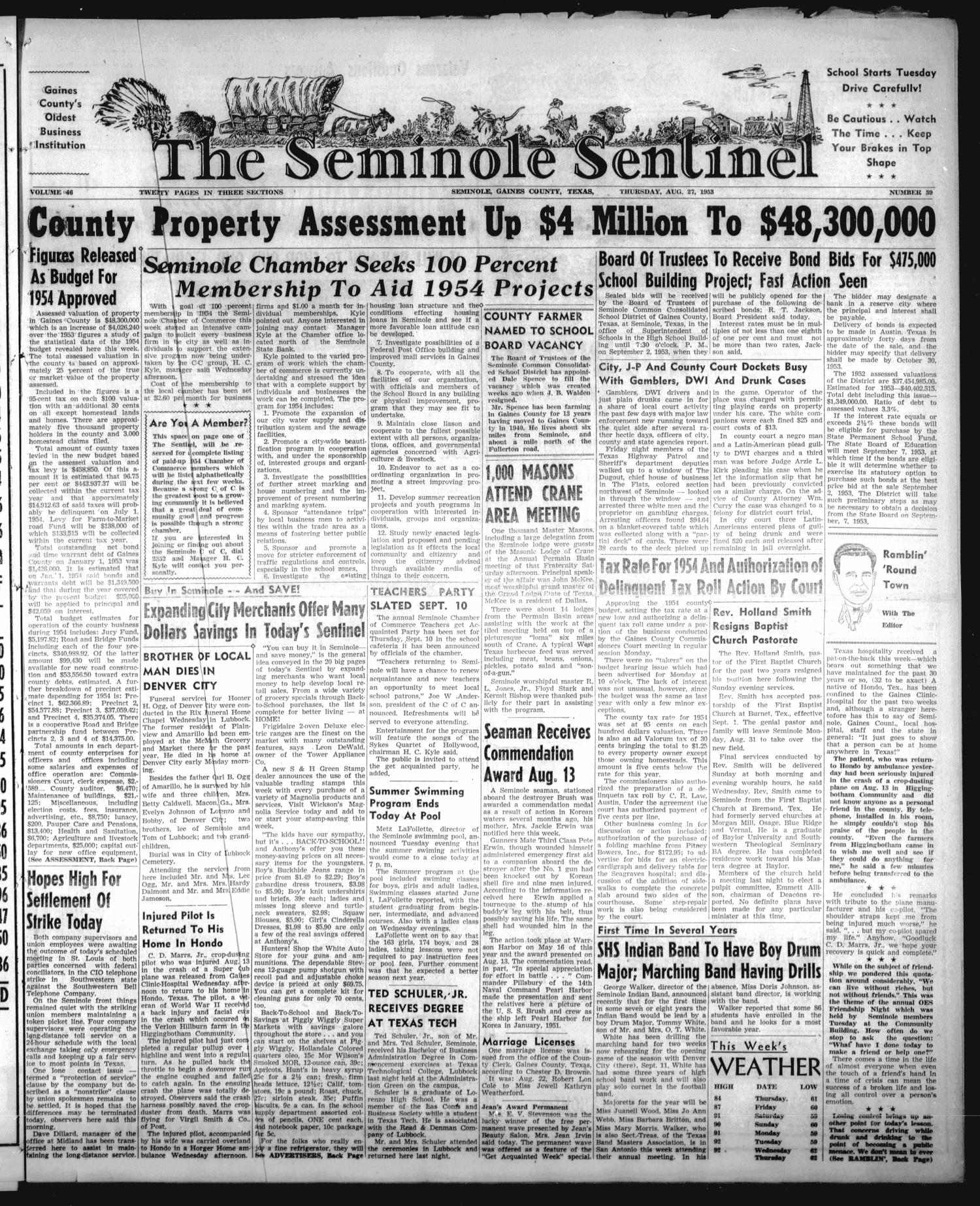 The Seminole Sentinel (Seminole, Tex.), Vol. 46, No. 39, Ed. 1 Thursday, August 27, 1953                                                                                                      [Sequence #]: 1 of 20