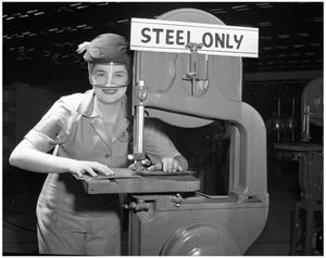 Primary view of object titled '[Betty Moore with Machinery]'.