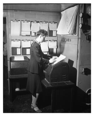 Primary view of object titled '[Merle Berrett Filing Messages Received on the Teletype]'.