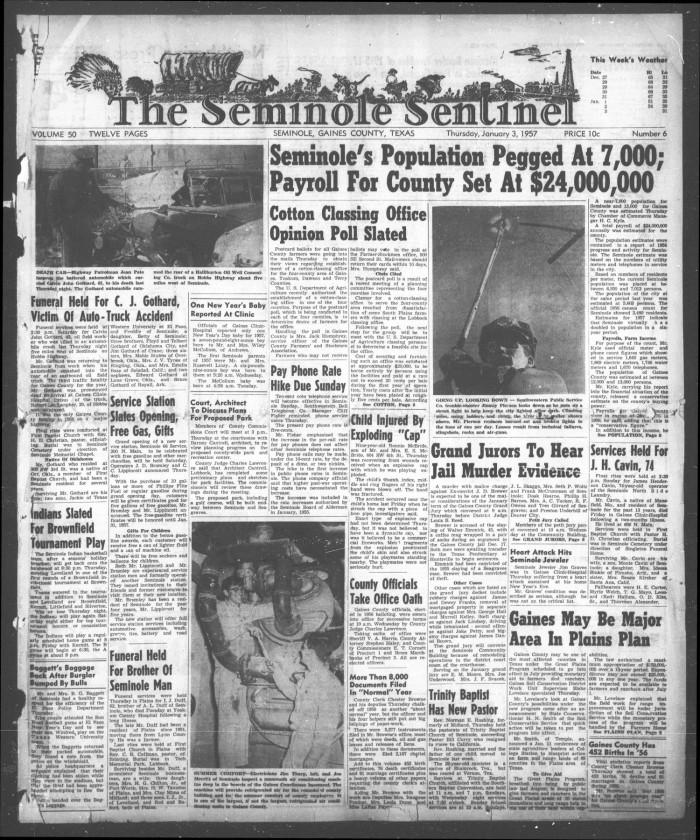 The Seminole Sentinel (Seminole, Tex ), Vol  50, No  6, Ed