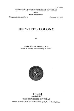 Primary view of object titled 'De Witt's Colony'.