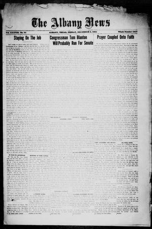 Primary view of object titled 'The Albany News (Albany, Tex.), Vol. 38, No. 24, Ed. 1 Friday, December 2, 1921'.