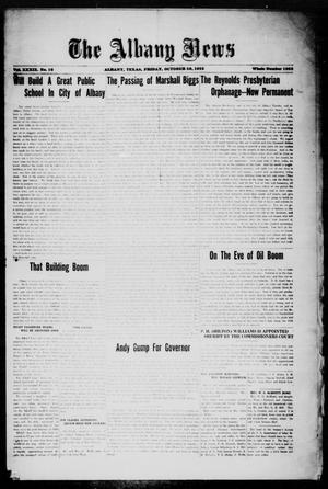 Primary view of object titled 'The Albany News (Albany, Tex.), Vol. 39, No. 16, Ed. 1 Friday, October 20, 1922'.