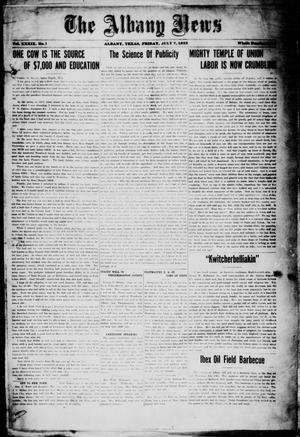 Primary view of object titled 'The Albany News (Albany, Tex.), Vol. 39, No. 1, Ed. 1 Friday, July 7, 1922'.