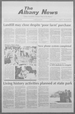 Primary view of object titled 'The Albany News (Albany, Tex.), Vol. 117, No. 46, Ed. 1 Thursday, April 22, 1993'.