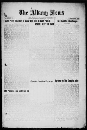Primary view of object titled 'The Albany News (Albany, Tex.), Vol. 39, No. 9, Ed. 1 Friday, September 1, 1922'.