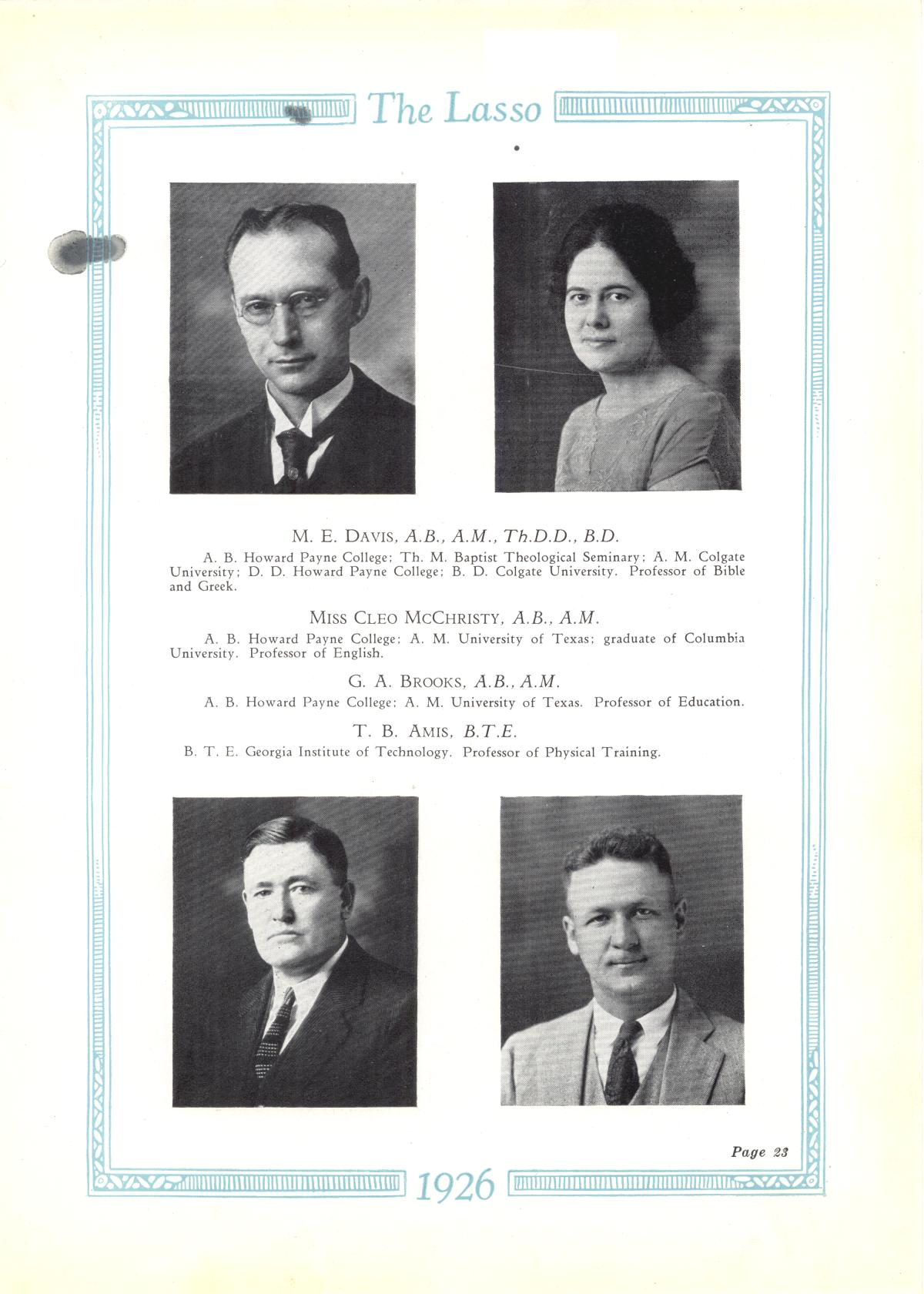 The Lasso, Yearbook of Howard Payne College, 1926                                                                                                      23