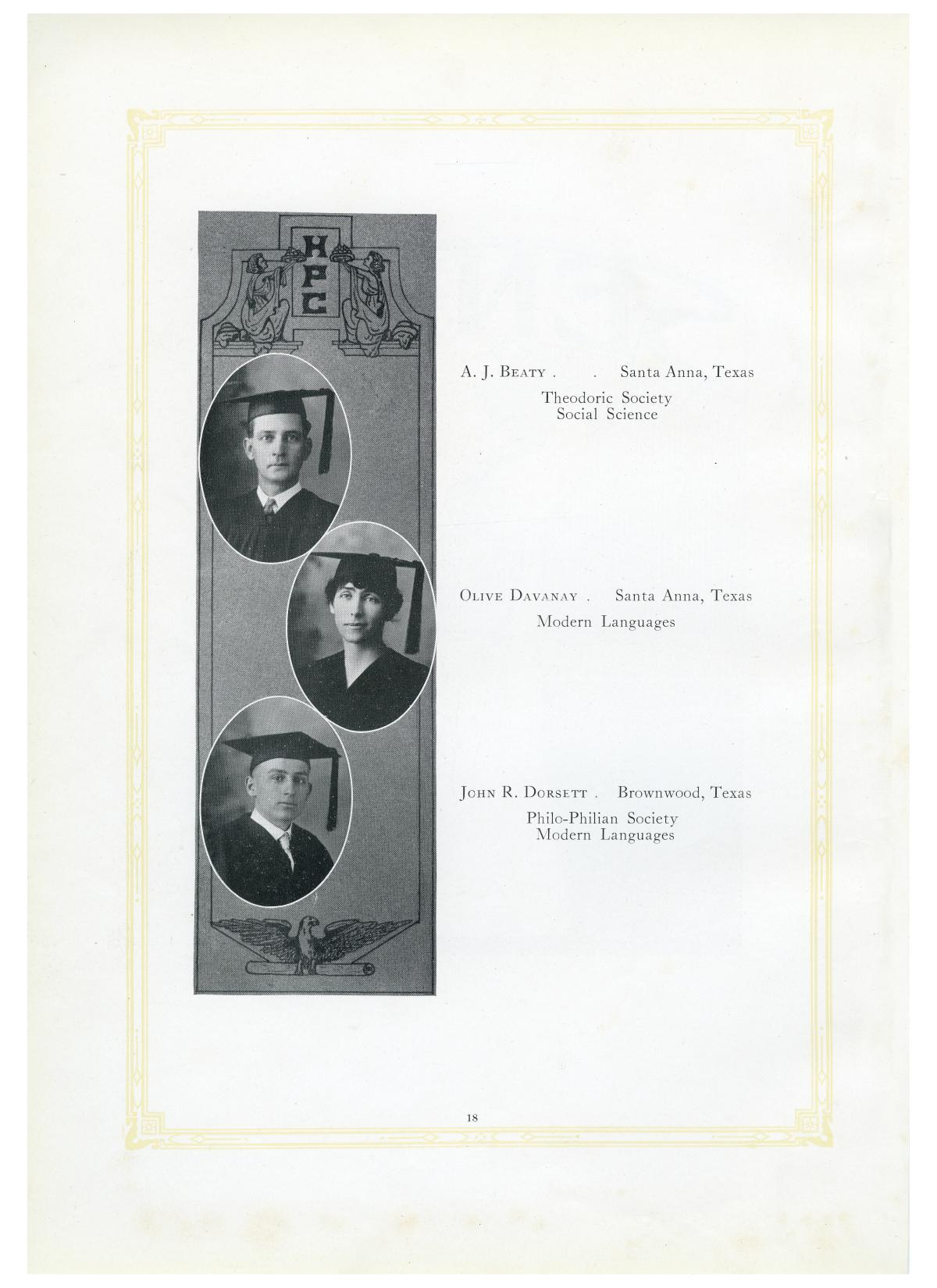 The Lasso, Yearbook of Howard Payne College, 1919                                                                                                      18