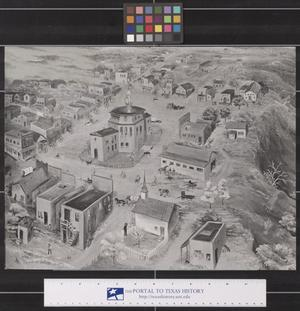 Primary view of object titled 'Painting of Early Fort Worth by Miranda Leonard, 1873'.