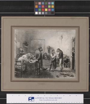 Primary view of object titled 'Cartoon of Costumed Apes in an Office'.