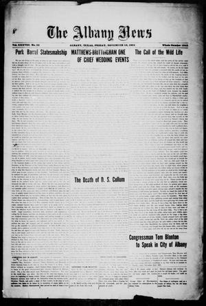 Primary view of object titled 'The Albany News (Albany, Tex.), Vol. 38, No. 22, Ed. 1 Friday, November 18, 1921'.