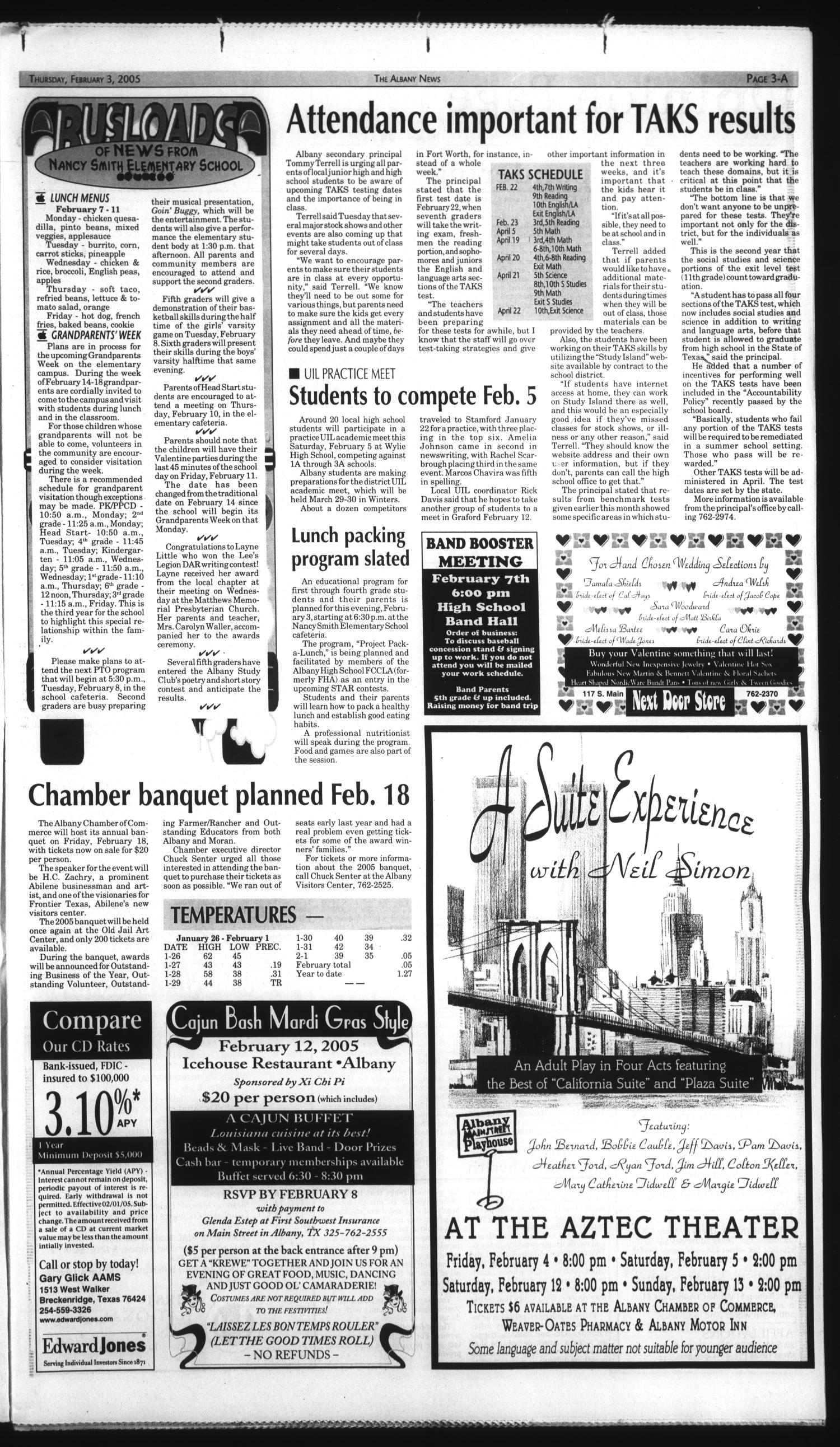 The Albany News (Albany, Tex.), Vol. 129, No. 36, Ed. 1 Thursday, February 3, 2005                                                                                                      [Sequence #]: 3 of 20