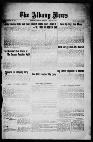 Primary view of object titled 'The Albany News (Albany, Tex.), Vol. 39, No. 42, Ed. 1 Friday, April 27, 1923'.