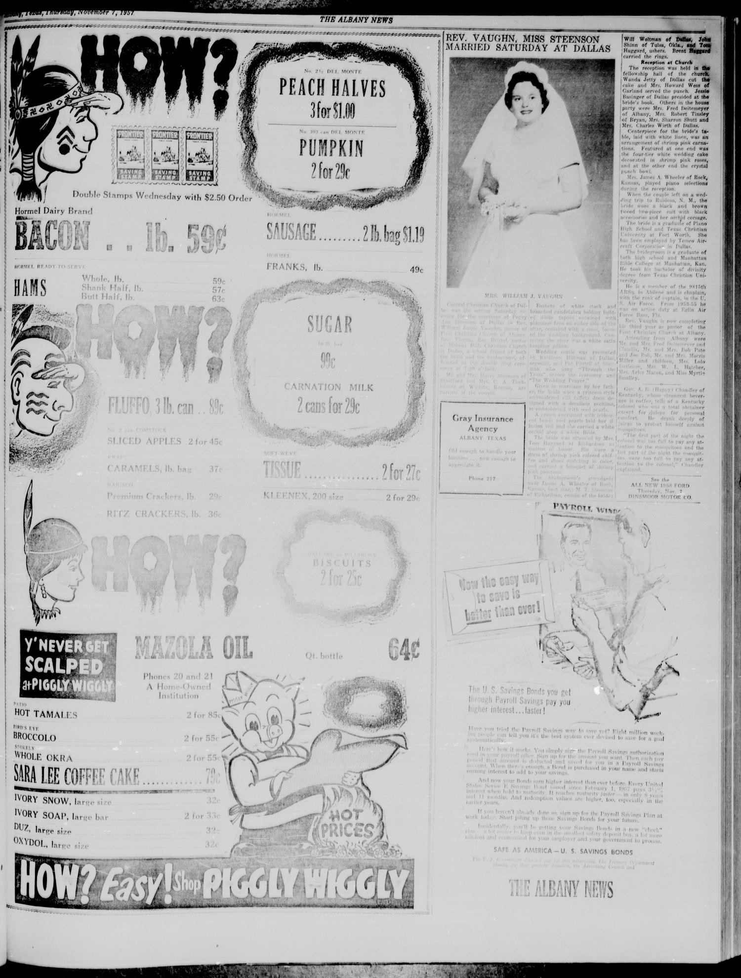 The Albany News (Albany, Tex.), Vol. 74, No. 9, Ed. 1 Thursday, November 7, 1957                                                                                                      [Sequence #]: 3 of 10