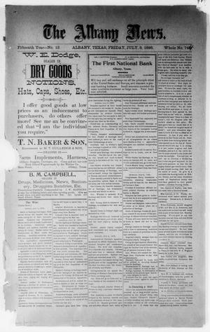 Primary view of object titled 'The Albany News. (Albany, Tex.), Vol. 15, No. 12, Ed. 1 Friday, July 8, 1898'.