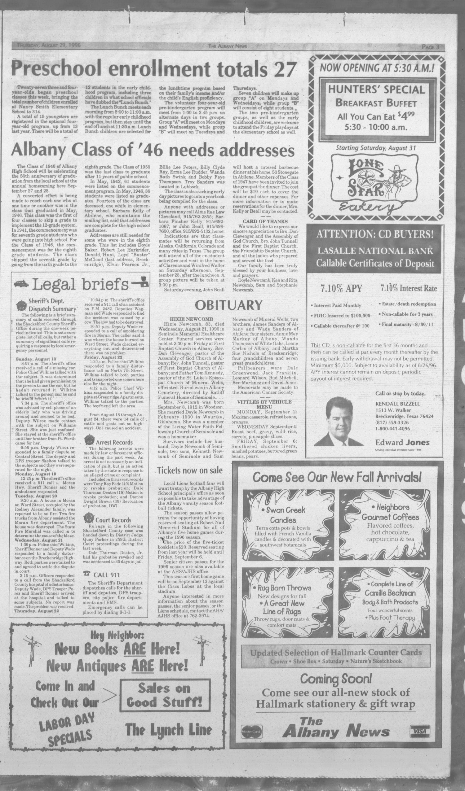 The Albany News (Albany, Tex.), Vol. 121, No. 13, Ed. 1 Thursday, August 29, 1996                                                                                                      [Sequence #]: 3 of 18