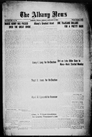 Primary view of object titled 'The Albany News (Albany, Tex.), Vol. 38, No. 28, Ed. 1 Friday, January 6, 1922'.