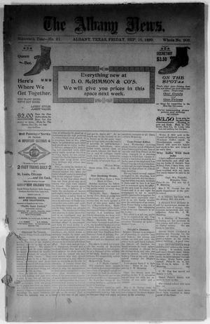 Primary view of object titled 'The Albany News. (Albany, Tex.), Vol. 16, No. 21, Ed. 1 Friday, September 15, 1899'.