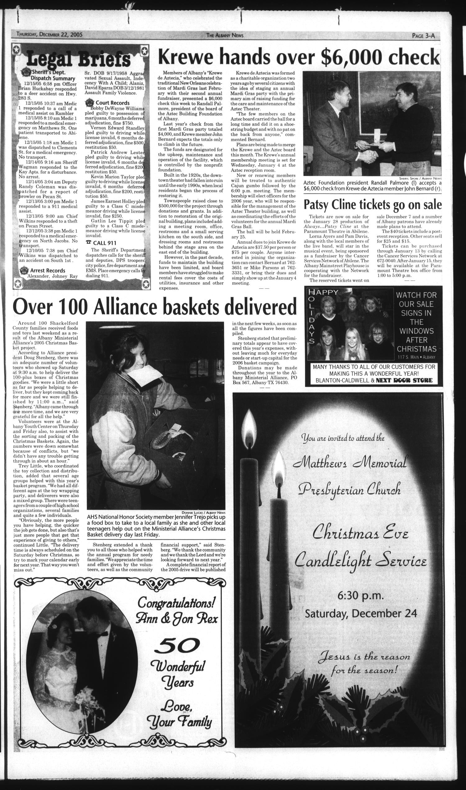 The Albany News (Albany, Tex.), Vol. 130, No. 30, Ed. 1 Thursday, December 22, 2005                                                                                                      [Sequence #]: 3 of 26