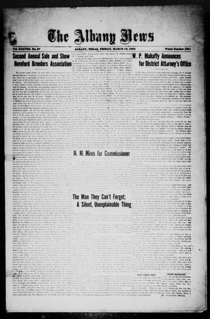 Primary view of object titled 'The Albany News (Albany, Tex.), Vol. 38, No. 37, Ed. 1 Friday, March 10, 1922'.