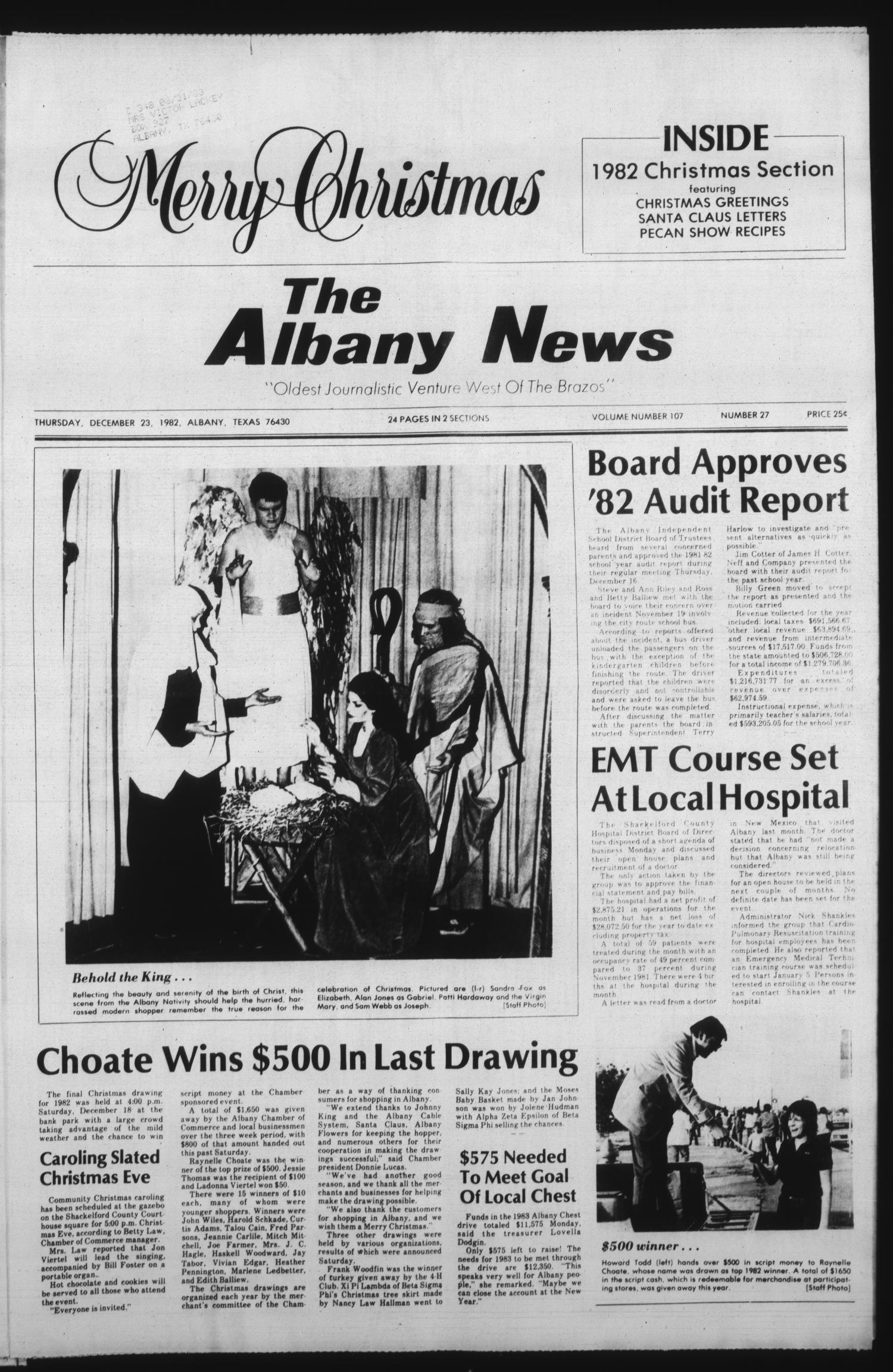 The Albany News (Albany, Tex.), Vol. 107, No. 27, Ed. 1 Thursday, December 23, 1982                                                                                                      [Sequence #]: 1 of 24