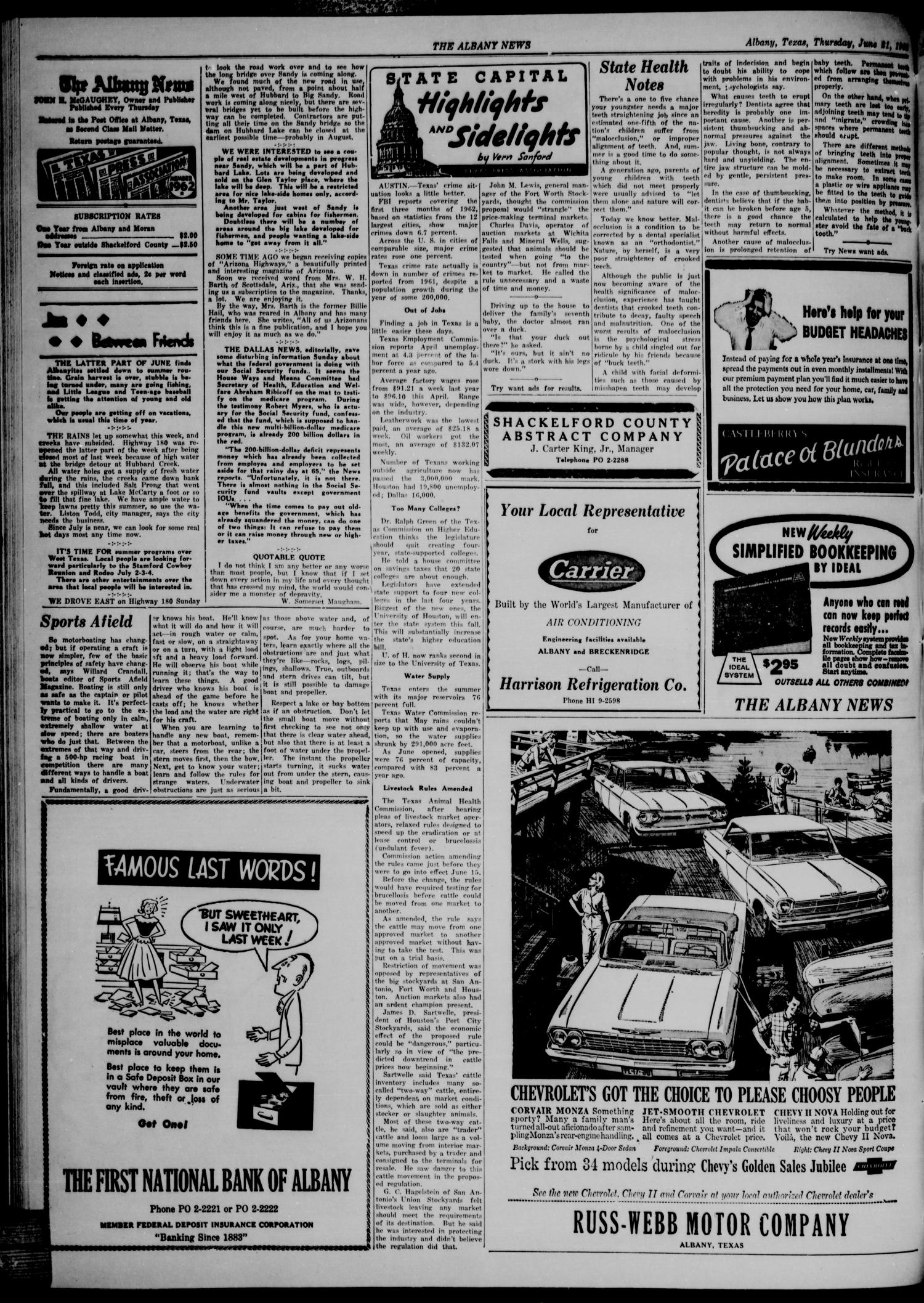 The Albany News (Albany, Tex.), Vol. 78, No. 42, Ed. 1 Thursday, June 21, 1962                                                                                                      [Sequence #]: 2 of 8